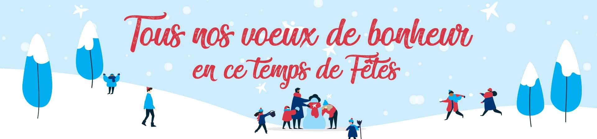 Visuel du temps des fêtes avec de la neige et un message du CEPEO qui vous souhaite un joyeux temps des fêtes