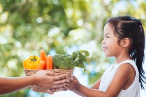 Jeune fille tient un panier de légumes